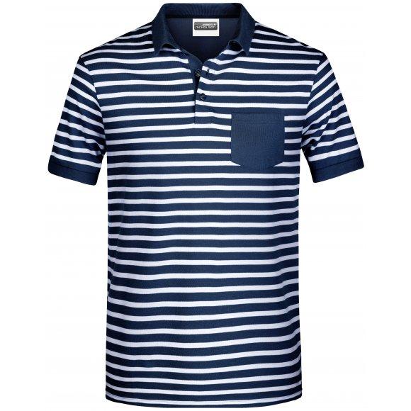 Pánské triko s límečkem JAMES NICHOLSON 8030 NAVY/WHITE