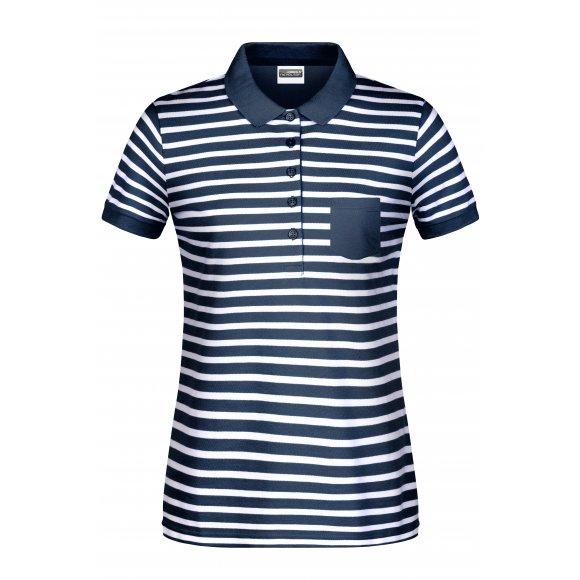 Dámské triko s límečkem JAMES NICHOLSON 8029 NAVY/WHITE