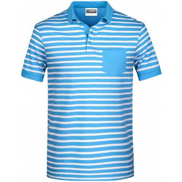 Pánské triko s límečkem JAMES NICHOLSON 8030 ATLANTIC/WHITE