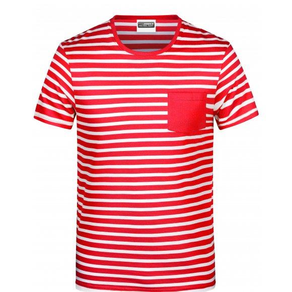 Dámské triko JAMES NICHOLSON 8027 RED/WHITE