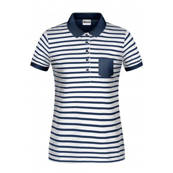 Dámské triko s límečkem JAMES NICHOLSON 8029 WHITE/NAVY