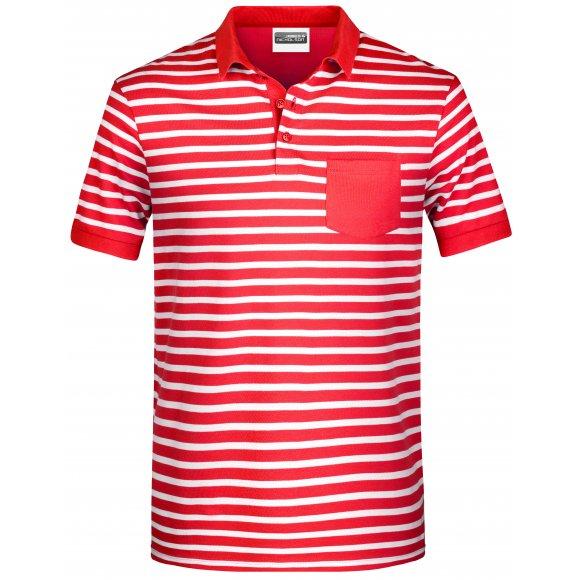Pánské triko s límečkem JAMES NICHOLSON 8030 RED/WHITE