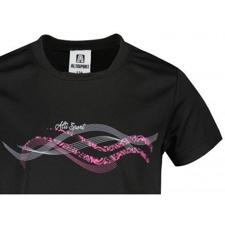 Dětské funkční triko ALTISPORT ALK085147 ČERNORŮŽOVÁ