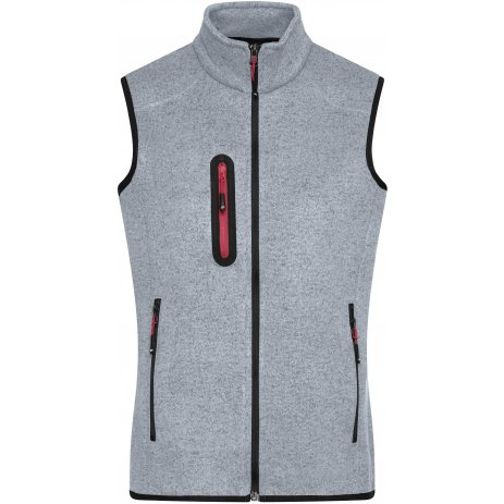 Pánská fleecová vesta JAMES NICHOLSON JN774 LIGHT GREY MELANGE/RED
