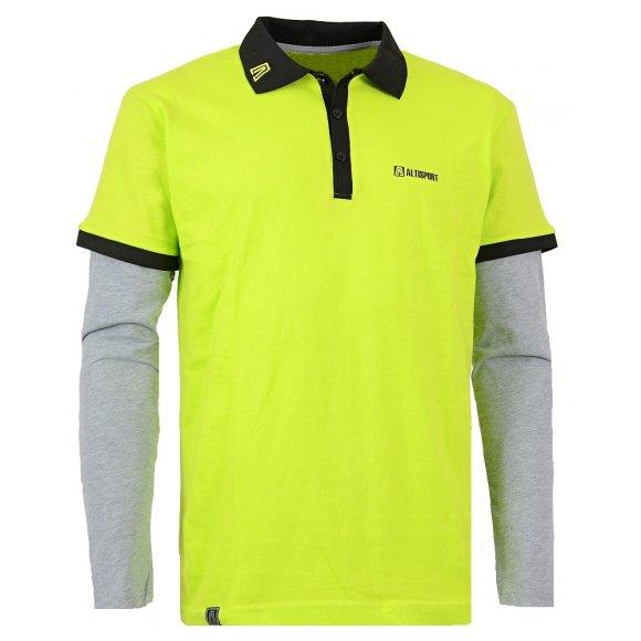 Pánské triko s límečkem ALTISPORT ALWIN ALMW15093 ZELENÁ